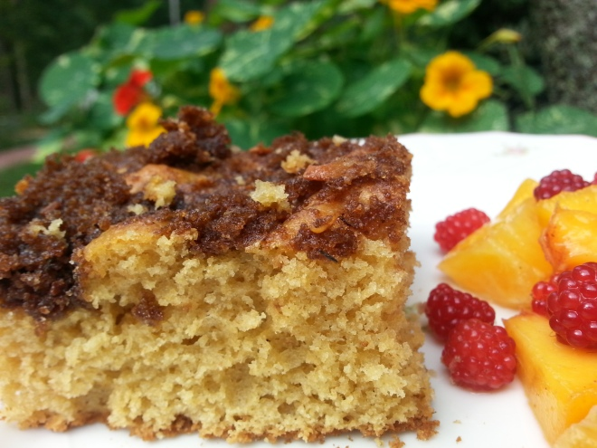 Cinnamon Coffeecake with Oranges, Peaches, and Japanese Wineberries -- on a backdrop of Firebird Nasturtiums!